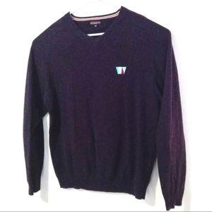 Gant Vneck Sweater Purple Hemmed Waist